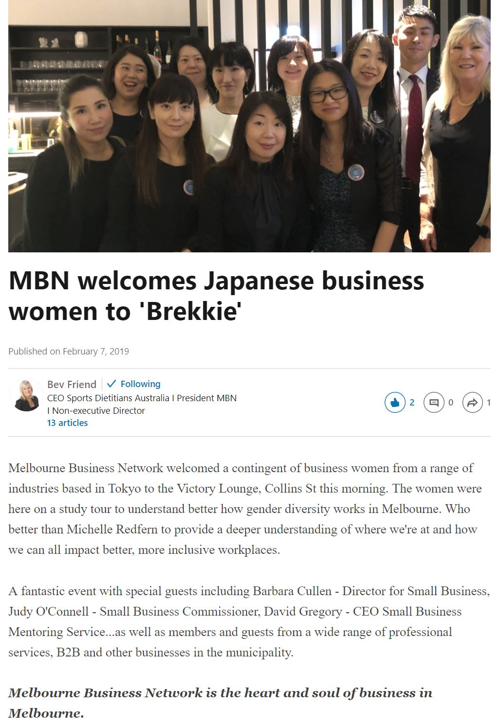 Top Japanese female executives meeting Melbourne local businesses
